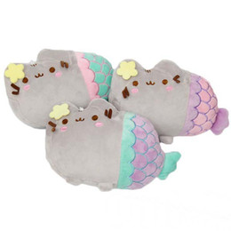 Wholesale Wholesale Mermaid Dolls - 2016 Hot Sale 3 style 20x13cm Pusheen Cosplay Mermaid Plush Doll Stuffed Animals Toys For Child Gifts