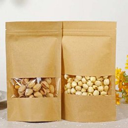 Wholesale Gift Packaging For Chocolates - 50pcs lot Resealable Stand up Kraft Bags Ziplock Gift Bag Retail Packaging For Chocolate Candy Paper Clear Window Filing Supplies