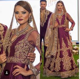 Borgonha Cetim Itália Vestidos de Casamento Árabe 2017 V Neck Lace Ouro Frisado Sheer Mangas Compridas Vestidos De Novia Vestidos De Noiva De Casamento de