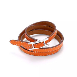 Wholesale Letters Bangle - 2017 Jewelry wholesale H belt buckle, three layer leather bracelet, Kell bracelet, H letter leather, men and women Bracelet