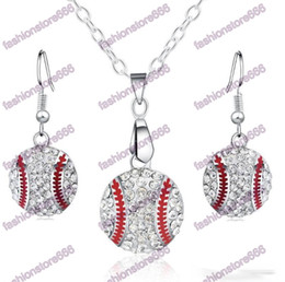 Wholesale Sports Team Jewelry - Crystal Baseball Pendant Earrings Necklace Jewelry Sets Fashion Sports Jewelry Best Friend Gift For Team Club Base Ball Lovers