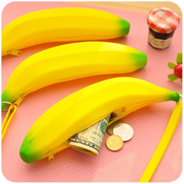 Wholesale Ego Camouflage - .Novelty Silicone Portable Banana Coin Pencil Case Purse Bag Wallet Pouch Keyring Fruit zero wallet ego zipper case gift Free Shipping