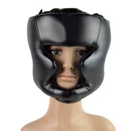 Wholesale Helmet Gear - Black Helmet Head Guard Boxing Headgear Head Guard Training Helmet Protection Kick Boxing Protect Gear