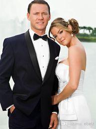 Wholesale Shawl Collar Dress Suit Men - Fashion men wedding Suits New Year Hote sale tuxedos men's dress one button Shawl collar Color butyl process groom wedding suit.