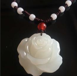 Wholesale White Hetian Jade - Natural jade Xinjiang hetian jade white jade pendant female peony roses jade pendant hang pendant necklace