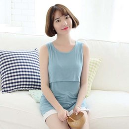 Wholesale Top Dress For Pregnant - Maternity Shirt Breastfeeding Top Undershirt Sexy Camis Sleeveless Dresses For Pregnant Women Modal Tank Tops Nursing Clothes M L XL XXL
