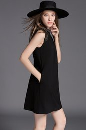 Wholesale Diamond Loose Rhinestones - Women Elegant Black Dress Zomer Jurken 2016 Dashiki Robe Vintage Sleeveless 3D Diamond Beading Loose Dress Vestido De Festa