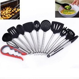 Wholesale Kitchenware Wholesalers - 12pcs set Silicone Kitchenware Not Sticky Pot Heat Resistant Shovel Spoon Eggbeater Food Clip Leak Oil Brush Cooking Tools CCA7475 5set