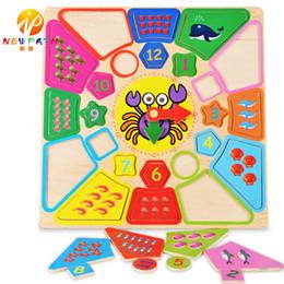 Wholesale Wooden Clock Puzzle - Children Educational Tool Wooden Detachable blocks toys Digital Animal Geometry Shape Match Clock Puzzle Toys baby boy girl gift Blocks