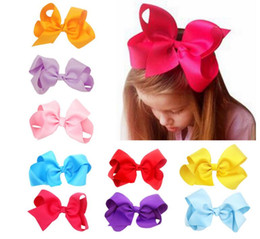 Wholesale Girls Bow Stockings - High Quality 24 Colors in stock 15cm Ribbon Hair Bow With Clip Girls Big Solid Bow Hair Clips Accessories