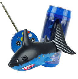 Wholesale Remote Control Water Toys - new arrive Mini RC Shark Under Water Coke Zip-top Pop-top Can RC Shark Fish 4CH Radio Remote Control Fish 3-Colors 3310B RC Toy for Kids