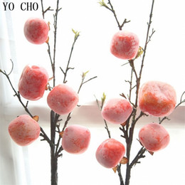Wholesale Persimmon Fruit - Hot sale real touch Christmas fall decoration fake foam persimmon home leaf 5 fruit artificial Branch hotel party accessories