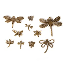 Wholesale Dragonfly Bronze Charm - Free shipping New 108pcs lot Mixed Style Zinc Alloy Antique Bronze Plated Dragonfly Charms Pendants Diy Jewelry Handmade Crafts jewelry mak