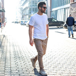 Wholesale Trouser Side Zipper - 2016 Fashion Kanye West Pants Fear Of God Men Skinny Slim Trousers Side With Zipper Casual Harem Pants Men
