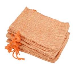 9x12 cm Özel Faux Jüt İpli Takı Çanta Küçük Torbalar Çuval Bezi Turuncu Boş Keten Kumaş Hediye ambalaj çanta Hessen çanta için satış nereden fermuarlı sutyen tedarikçiler