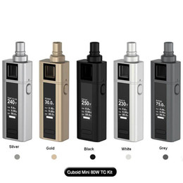 Wholesale Battery Circuits - 100% Original Joyetech Cuboid Mini Kit With 80W Cuboid Mini Battery 2400mah New 0.25ohm Atomizer NotchCoil DL Head Dual Circuit Protection