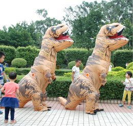 Wholesale Costume Dinosaur - Adult T-REX Inflatable Costume Christmas Dinosaur Animal Mascot Costumes Jumpsuit Halloween Costume for Women Men