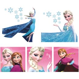 Wholesale Wall Stickers For Girls - Hot Princess Wall Sticker Frozen Switch Notebook Wall Stickers Cartoon Wall Covering Wallpaper Rolls Decoration Kids Girls Bedroom Decor