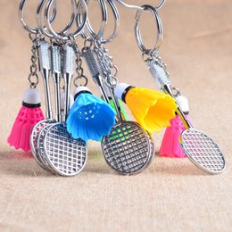 Wholesale Badminton Keychains - Funny Style Metal Small Badminton Gift Keychains Colorful decoration Sport Souvenir Keyring Mini 3D Badminton Keychain