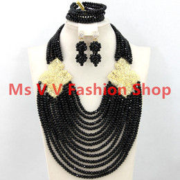 Wholesale Costume Bracelet Necklace - 18k gold plated Classy black African Costume Necklace Set Choker Crystal Bridal Indian Beads Jewelry Set 2016 Free Shpping nigerian wedding