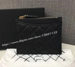 Wholesale Coin Box Design - 2018 New Design Women's Black Caviar Zipper wallet Classic Card Holder 84105 Genuine Leather Small Coin Purse Factory Outlet with Box