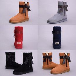 Wholesale Blue Zip Ties - Hot sale WGG Women Australia Classic tall Boots Bow tie boots black chestnut coffee Snow Winter boots leather shoes Eur 36-41