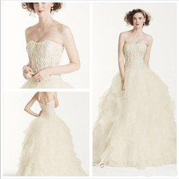 Wholesale Modest Bridal Gowns Organza - 2016 New Gorgeous Oleg Cassini Wedding Dresses Strapless Lace Applique Ruffles Sweep Train Organza Modest Bridal Gowns CWG568 Plus Size