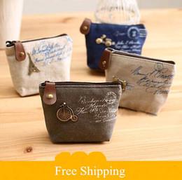 Wholesale Vintage Change Holder - 2015 new Women's canvas bag Coin keychain keys wallet Purse change pocket holder organize cosmetic makeup Sorter