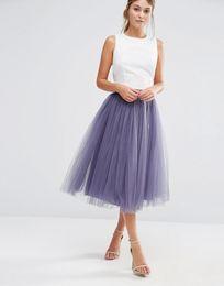 Wholesale Tea Balls For Sale - Factory Sale 2017 Fashion Skirt Ball Grown Skirt for Women Party Tea Length Lady Formal Satin Waist Band all colors available custom lengt