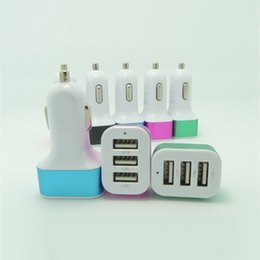 Wholesale Port Devices - 5V 3 usb port car Auto charger Adapter for universal smartphone cellphone ipad universal Charge 3 USB devices at the same time