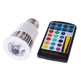 Wholesale 5w Ir - Memory Function Color Changing RGB LED Spotlight LED Flash Spot Light 5W E27 GU10 Led Bulbs AC 85-265V Mood Light with 28keys IR Remote