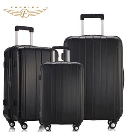 Wholesale Cabin Luggage - Wholesale-Black Color ABS PC Travel Business Carry-on Luggage Suitcase 20 24 28 Upright Durable Cabin Case Spinner 4 Wheels Fochier XQ018