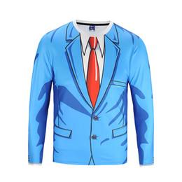 Deutschland Blauer Anzug Printed 3D Langarm-T-Shirts für Männer Gefälschte Zwei Stücke O Neck Tees Herbst Tops T Großhandel Kleidung BL-111 supplier blue two piece suit for men Versorgung