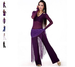 Wholesale Belly Dance Practice Wear - 2016 Belly Dance Costume Set 3PS Professional Top&Pants&Hip Scarf Indian Dress Lady Belly Dancing Dance Wear Practice Performance