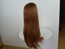 Wholesale Long Copper Red Wigs - Custom copper red Jewish wig human virgin soft hair Kosher wigs 27 30# long layer style 3