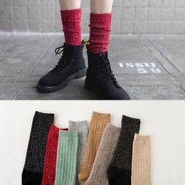 Wholesale Ladies Ankle Socks Brown - Winter Women Socks Vintage Glitter Wool Long Socks Fashion Novelty Ladies Girls Bling Gold Silver Silk Warm Knee Knit Sock