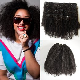 Wholesale cheap clip extensions - 7Pcs Set Afro Kinky Curly Clip In Human Hair Extension Cheap Human Hair 120g lot Peruvian Virgin Clip In Hair Extension G-EASY