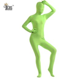 Wholesale Pink Unitard - Wholesale-(5 pieces lot) Women Lemon Green Zentai Suit One Piece Full Body Long Sleeve Unitard Halloween Party Costume Custom Skin Suit