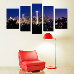 Wholesale Night City Oil Painting - 5 Picture Combination Seattle Night City Canvas Print Seattle City Panorama City View Art Print Black and White Seattle Canvas
