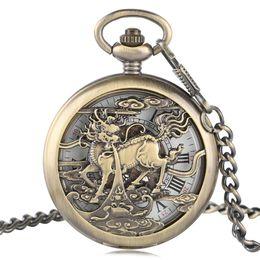 Wholesale New Mechanical Skeleton Pendant Watch - 2017 New Arrival Men Women Hollow Design Kylin Fob Skeleton Mechanical Pocket Watch Roman Numeral Dial Bronze Pendant Clock Gift
