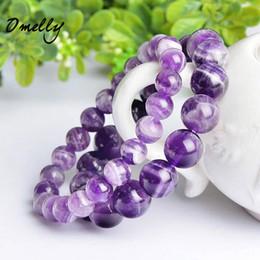Pulseras de piedras preciosas online-Dream Amethyst, piedras semipreciosas naturales Granos de alta calidad 6mm / 8mm / 10mm Pulseras de abalorios de piedras Joyas de piedras preciosas de cristal a granel