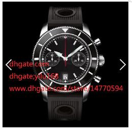 Wholesale Superocean Strap - Mens listing High Black SuperOcean Stainless Steel Chronograph Quartz Men's Watch Folding clasp Rubber Strap