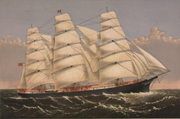 Wholesale antique canvas - 1875 CLIPPER SHIP, Sailing, antique, Beautiful, Boat,Free Shipping,HD Seascape Canvas Art Print in any size customized