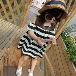 Wholesale off shoulder striped dress - Girl Dress Kids Off Shoulder Dress Summer Kids Chiffon Dress Mini Shirts Striped Dress 2-6 Y
