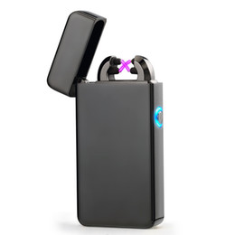 Wholesale Charging Electronic Cigarette - New Double ARC Electric USB Lighter Rechargeable Plasma Windproof Pulse Flameless Cigarette lighter colorful charge usb lighters