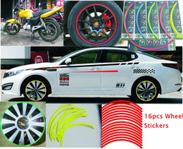 """Wholesale Rims Decals - 16 Pcs Strips Wheel Stickers And Decals 14""""-18"""" Reflective Rim Tape for Bike Motorcycle Car auto Tape 5 Colors Car Styling"""