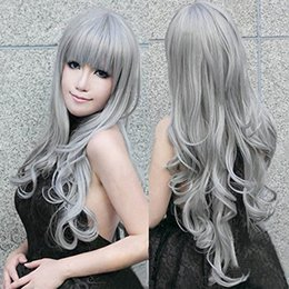 "Wholesale Sexy Gray Wigs - Wholesale-32"" 80cm Long Grey Wavy Wigs Gray Woemn Sexy Lolita Cosplay Wig Costume Party Wig For Halloween Christmas Party Peruca"