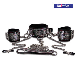 Wholesale Stainless Steel Bdsm Cuff - Hot Sex Pyhen Bondage Handcuffs Collar Stainless Steel Fetish BDSM Bondage Toy Adult Games Sex Toys For Couples Wild Passionate