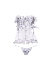 Wholesale Wholesale Elegant Corsets - Corset Bustier G-string French Elegant Lace Bow Sheer Fabric Underwear Set Steel Bone New Year Women Soutien-gorge Baroque Blanc Dentlle
