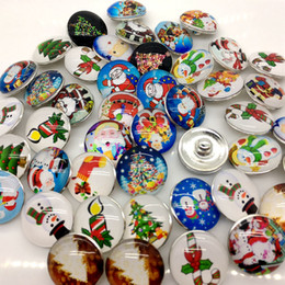 Wholesale Chunks Interchangeable - 30pcs 20mm Snap Button Christmas Ginger Snap Cartoon Chunk Button Mixed Styles Diy Interchangeable Jewelry Fit Noosa Bracelet